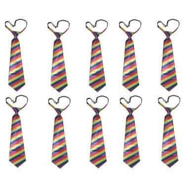 10x regenboog carnavals stropdas voor
