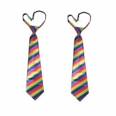 2x regenboog carnavals stropdas voor