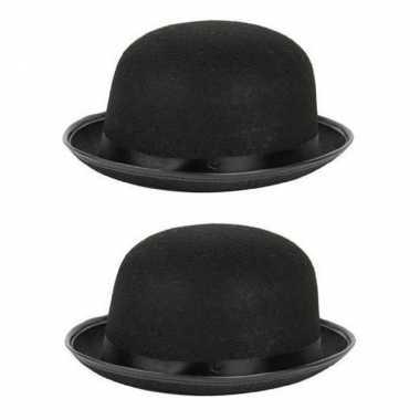 2x stuks carnaval/feest bolhoed/bowler hat zwart voor volwassenen