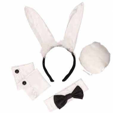 4x stuks bunny playboy verkleed setje voor carnaval