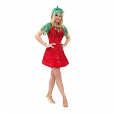 Aardbei jurkje met haarband voor carnaval
