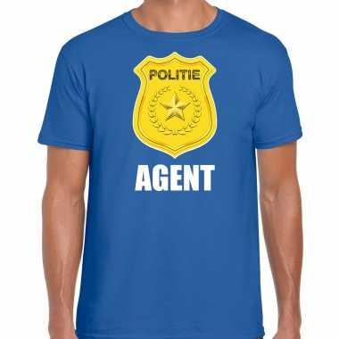 Agent politie embleem carnaval t-shirt blauw voor heren