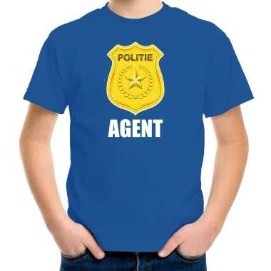 Agent politie embleem carnaval t-shirt blauw voor kinderen