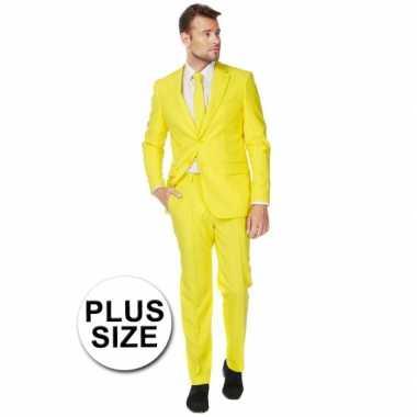 Big size heren kostuum geel voor carnaval