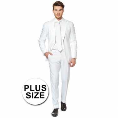 Big size heren kostuum wit voor carnaval