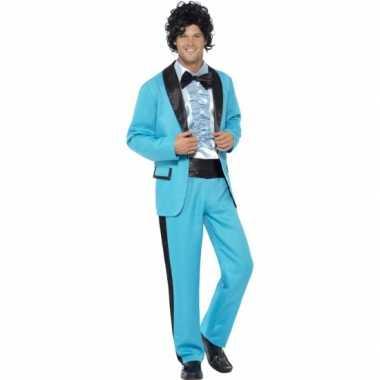 Blauw  jaren 80 kleding pak heren voor carnaval