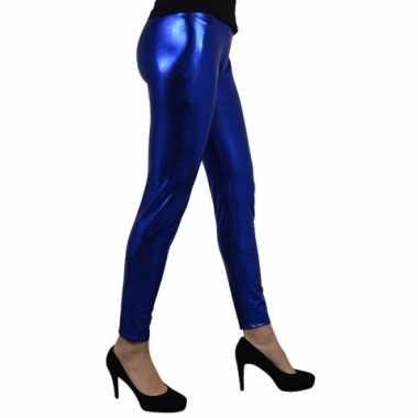 Blauw metallic legging voor carnaval