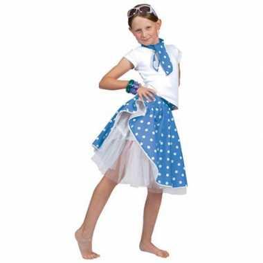 Blauwe fifties rok voor meiden carnaval