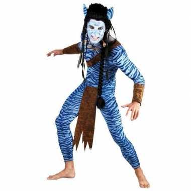 Blauwe jungle strijder pak voor mannen carnaval