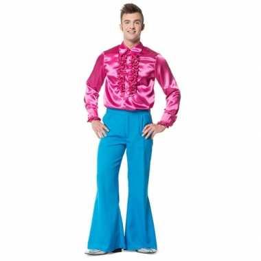 Blauwe seventies broek voor heren carnaval
