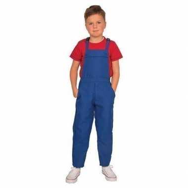 Blauwe verkleed overall voor kinderen carnaval