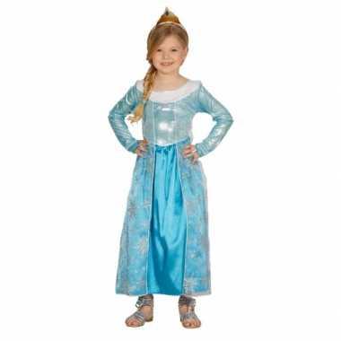 Blauwe verkleed prinsesjurk voor carnaval