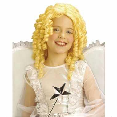 Blonde engelen kinder pruik