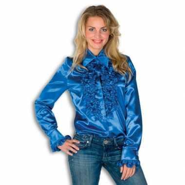 Blouse blauw met rouches dames voor carnaval