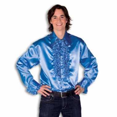 Blouse blauw met rouches heren voor carnaval