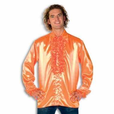 Blouse oranje met rouches heren voor carnaval