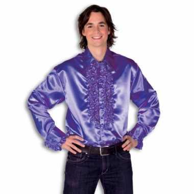 Blouse paars  met rouches heren voor carnaval