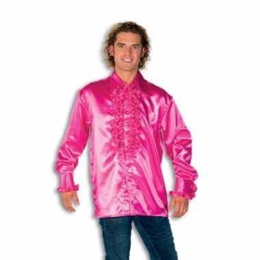 Blouse roze met rouches heren voor carnaval