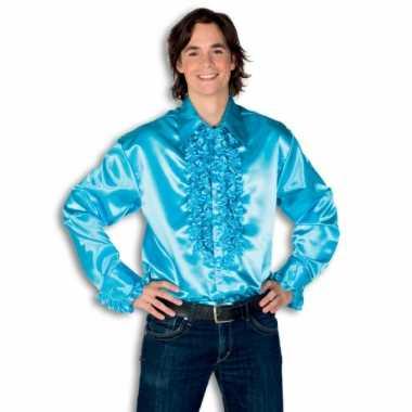 Blouse turquoise met rouches heren voor carnaval