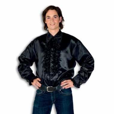 Blouse zwart met rouches heren voor carnaval
