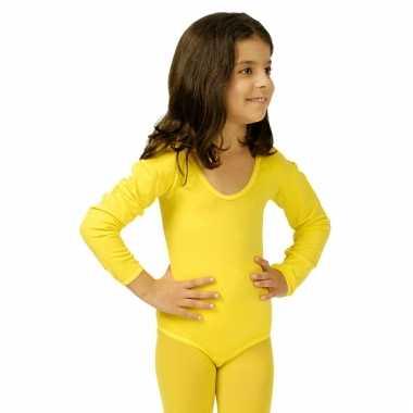 Bodystocking geel voor kinderen carnaval