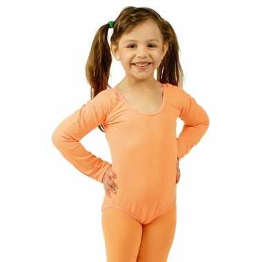 Bodystocking oranje voor kinderen carnaval