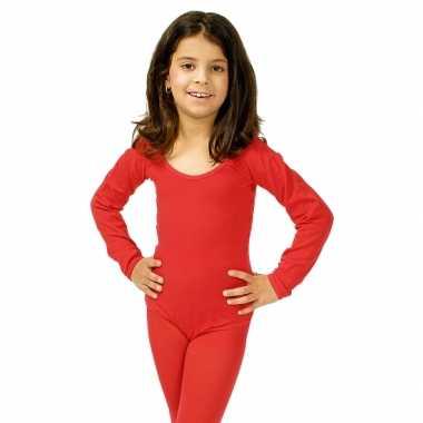 Bodystocking rood voor kinderen carnaval