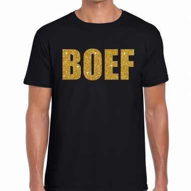 Boef glitter goud tekst t-shirt zwart heren voor carnaval