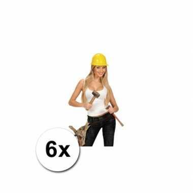Bouw helmen volwassenen 6x voor carnaval