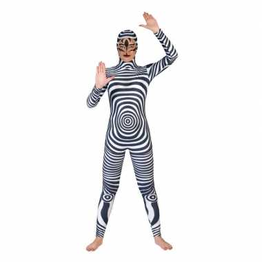Carnaval catsuit zebra print voor volwassenen
