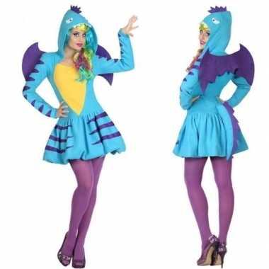 Carnaval/feest blauwe draak verkleed outfit voor dames