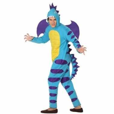 Carnaval/feest blauwe draak verkleed outfit voor volwassenen