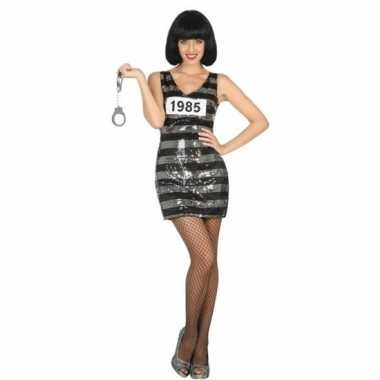 Carnaval/feest boeven/gevangenen verkleedoutfit jurkje ann zwarte/zil
