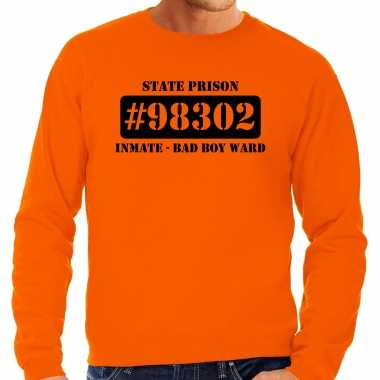 Carnavalskleding bad boy ward boeven / gevangenen sweater oranje heren voor