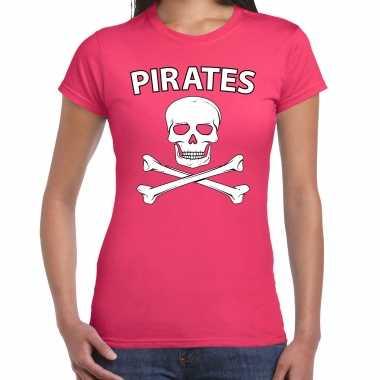 Carnavalskleding fout piraten shirt roze dames voor