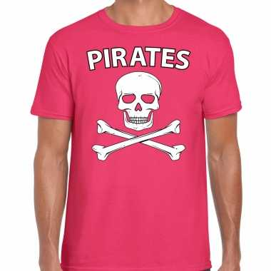 Carnavalskleding fout piraten shirt roze heren voor