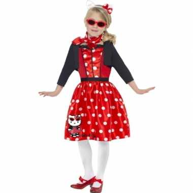 Carnavalskleding Hello Kitty rood voor