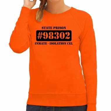 Carnavalskleding isolation cel boeven / gevangenen sweater oranje dames voor