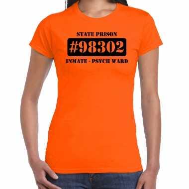 Carnavalskleding psych ward boeven / gevangenen shirt oranje dames voor