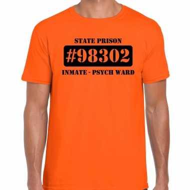 Carnavalskleding psych ward boeven / gevangenen shirt oranje heren voor