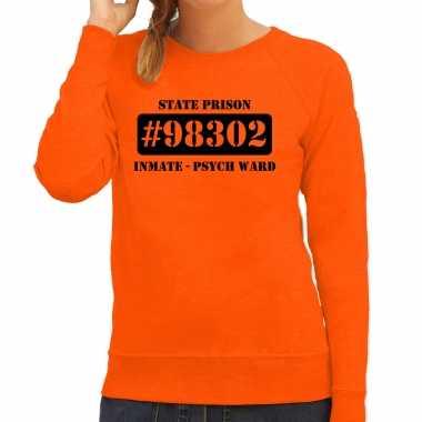 Carnavalskleding psych ward boeven / gevangenen sweater oranje dames voor