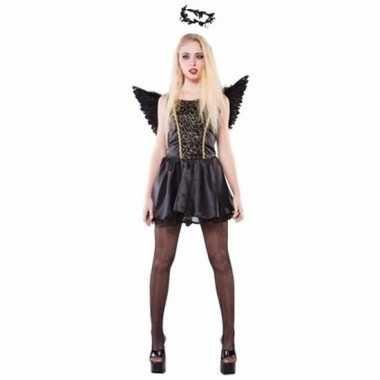 Carnavalskleding zwarte engelen kostuum voor