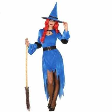 Carnavalskostuum heksen jurk blauw voor dames