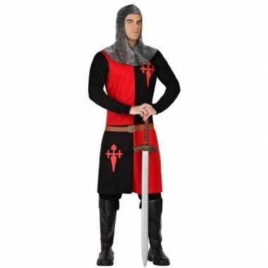 Carnavalskostuum middeleeuwse ridder zwart/ rood voor heren