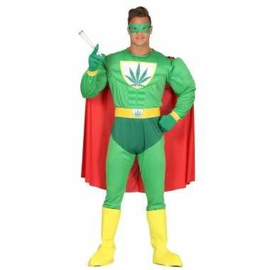 Carnavalspak gespierde superheld marihuana man groen voor