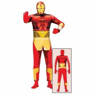 Carnavalspak superheld rood/goud voor volwassenen