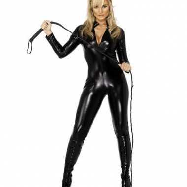 Catsuit zwart lederlook voor carnaval