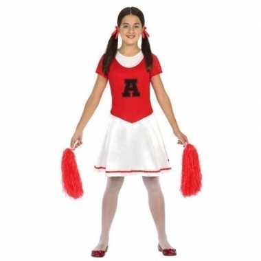 Cheerleader kinder verkleedjurkje rood/wit voor carnaval
