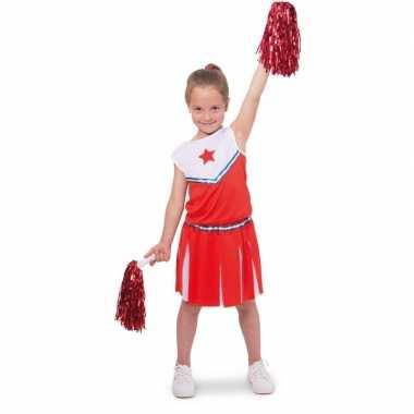 Cheerleader kinder verkleedset rood/wit voor carnaval