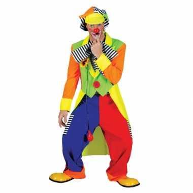Clown outfit gekleurd voor heren carnaval